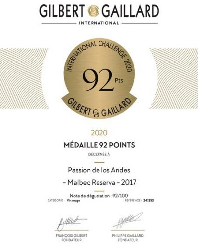 Médaille d'or Reserva 2017